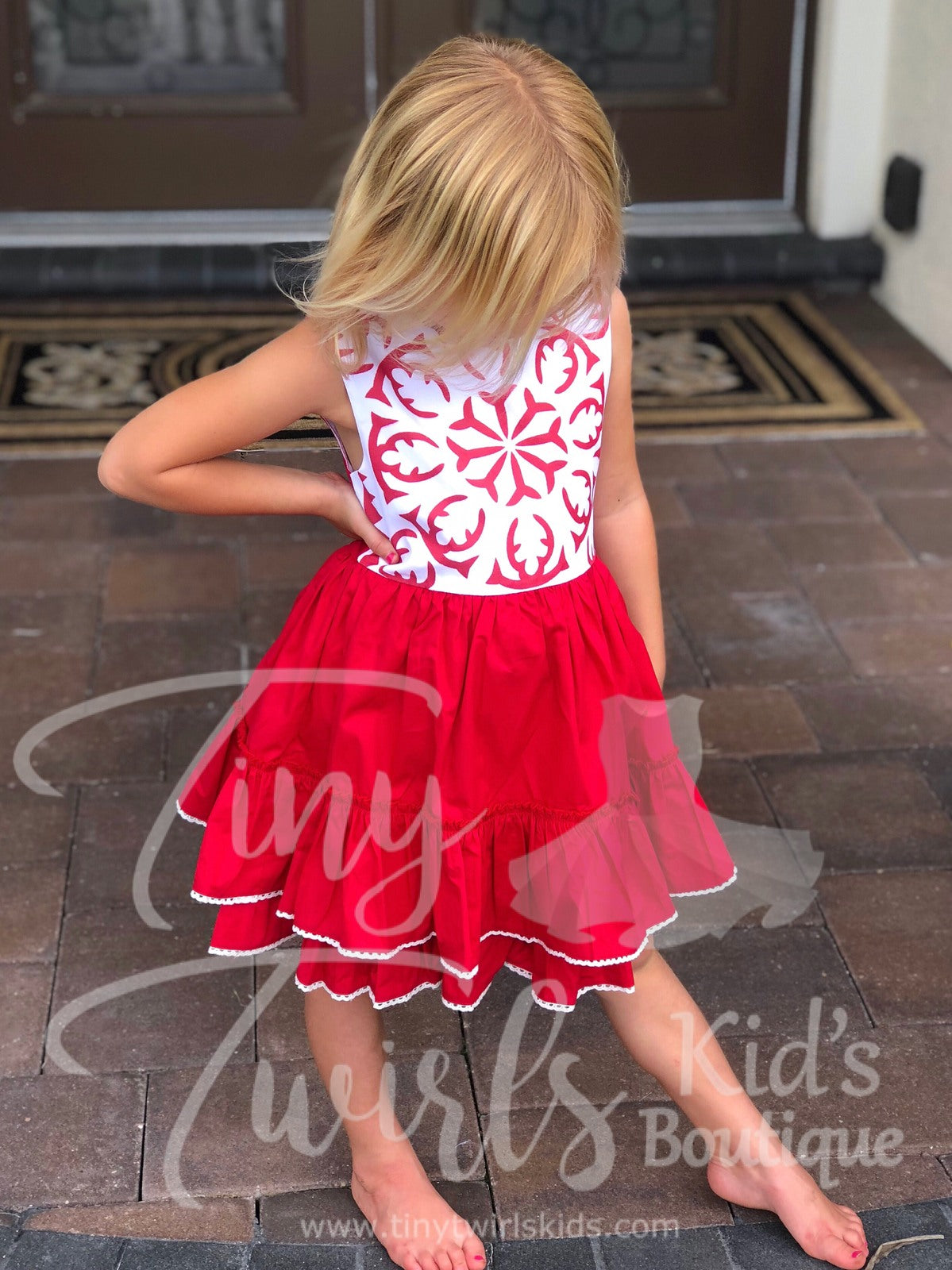 Red Ruffle Snowflake Christmas Dress - In-Stock - Tiny Twirls Kids Boutique