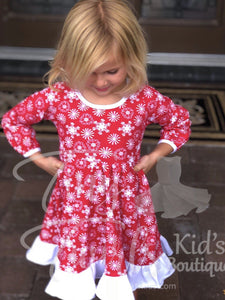 Red Snowflake Christmas Twirl Dress - In-Stock - Tiny Twirls Kids Boutique
