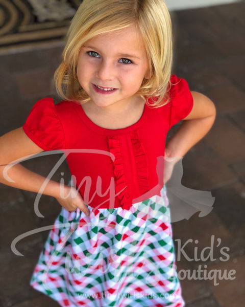 Red & White Christmas Plaid Dress - In-Stock - Tiny Twirls Kids Boutique