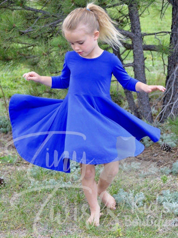 Sapphire 3/4 Sleeve Twirl Dress - In-Stock - Tiny Twirls Kids Boutique