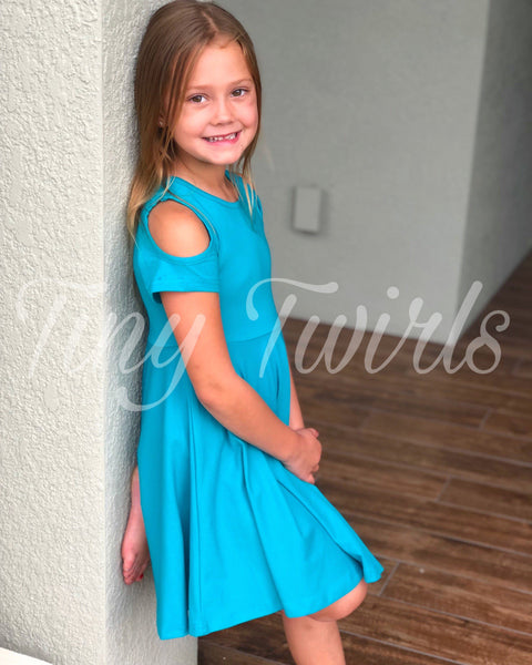 Teal Cold Shoulder Twirl Dress - In-Stock - Tiny Twirls Kids Boutique