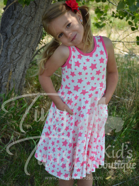 Pink Stars Pocket Twirl Dress - In-Stock - Tiny Twirls Kids Boutique