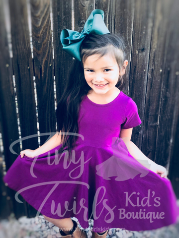 Short Sleeve Plum Twirl Dress - In-Stock - Tiny Twirls Kids Boutique