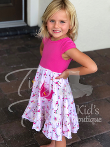 Pink Floral Pocket Twirl Dress -In-Stock - Tiny Twirls Kids Boutique