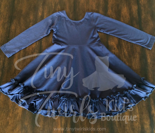 Navy Twirl Dress - In-Stock - Tiny Twirls Kids Boutique