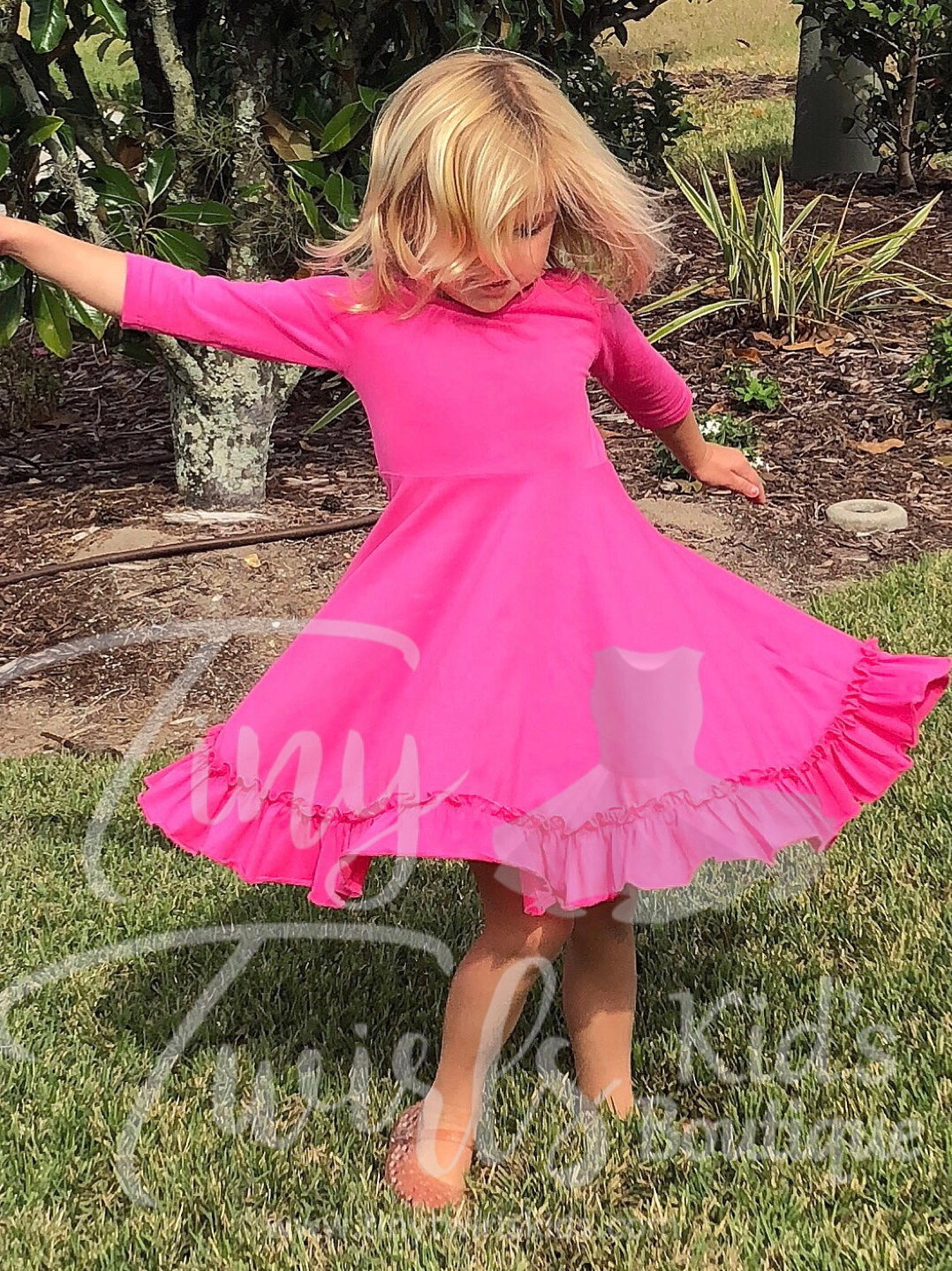 Dark Pink 3/4 sleeve Solid Twirl Dress - In-Stock - Tiny Twirls Kids Boutique