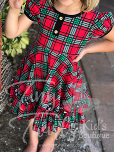 Christmas Plaid Twirl Dress - In-Stock - Tiny Twirls Kids Boutique
