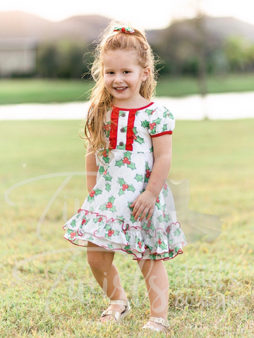 Holly Double Ruffle Christmas Twirl Dress - In-Stock - Tiny Twirls Kids Boutique