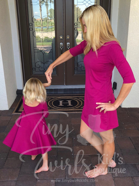 Winterberry 3/4 Sleeve Twirl Dress - In-Stock - Mommy & Me - Tiny Twirls Kids Boutique