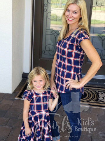 Women's Plaid Shirt - In-Stock - Mommy & Me - Tiny Twirls Kids Boutique