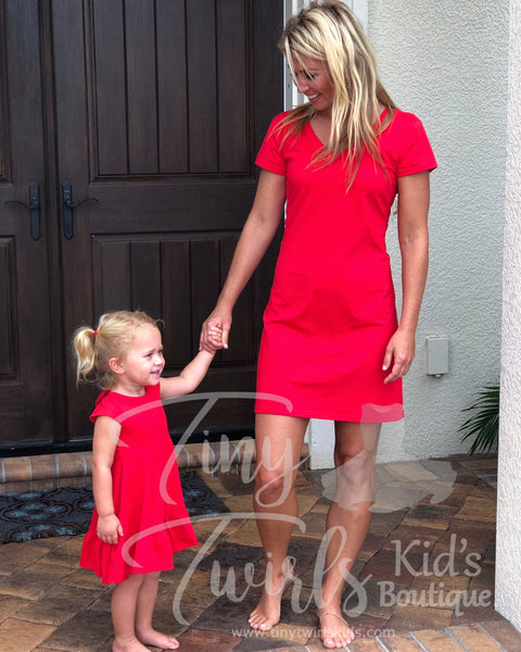 Women's Red V-Neck T-Shirt Dress - In-Stock - Mommy & Me - Tiny Twirls Kids Boutique