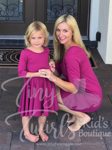 Women's Winterberry 3/4 Sleeve Dress - In-Stock - Mommy & Me - Tiny Twirls Kids Boutique