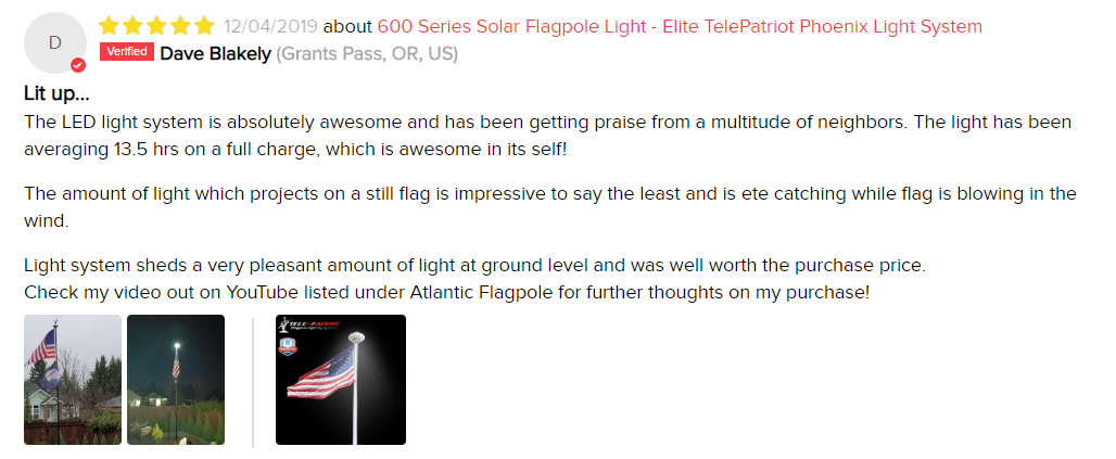 Orbital LED Solar Flagpole Light Review