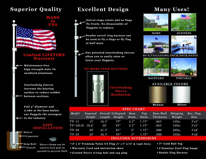 T.H.E. Telescoping Flagpole Specifications