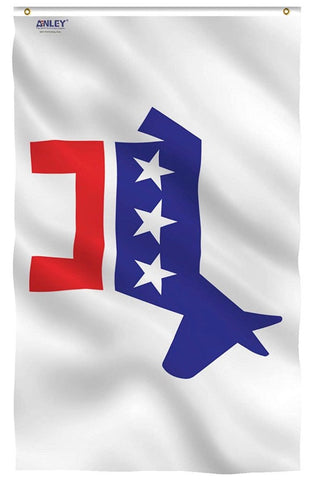 the national Democratic Party symbol on a flag for sale to buy online to be used for flying on flagpoles, parades, special events, and government offices.