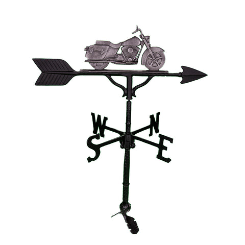 sweedish iron color motorcycle on top of a black weathervane
