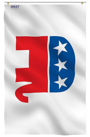 The national Republican party symbol flag for sale to buy online. Great for flying on the flagpole, parades, political rallies, and government offices.