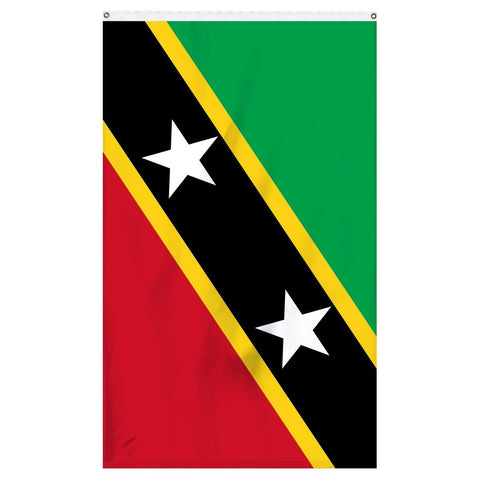 Saint Kitts and Nevis national flag for sale to buy online. Green, yellow, black, and red flag with two white stars.