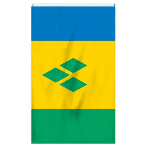 Saint Vincent and the Grenadines National flag for sale to buy online. Blue, yellow, and green flag with a three green diamonds in the middle.