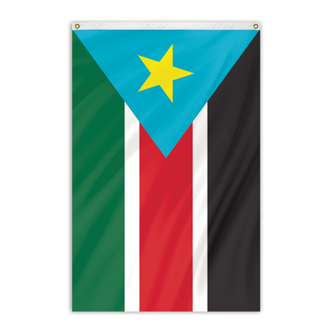 South SUdan National flag for sale to buy online. Black, red, green, and white flag with a yellow star inside of a blue triangle.