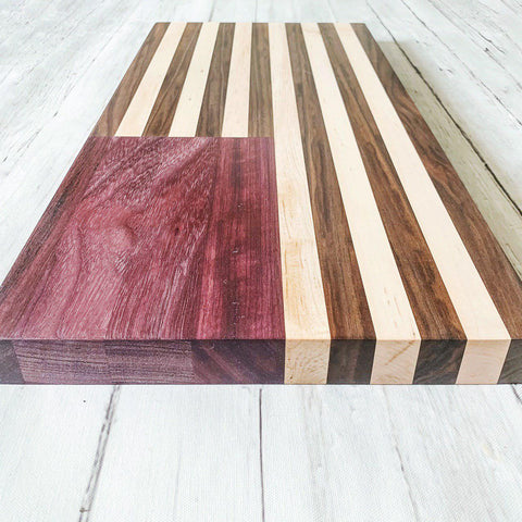 Purple Heart Wood American Flag Cutting Board