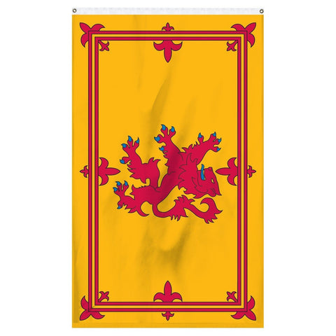 Scotland flag with lion national flag for sale to buy online. Yellow flag with red lion on it.