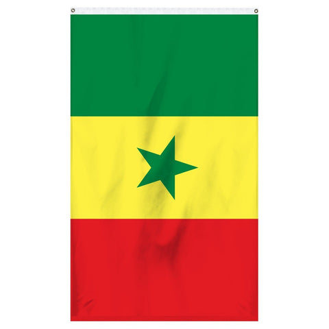 Senegal National Flag for sale to buy online from Atlantic Flag and Pole. Green, yellow, and red flag with a green star.