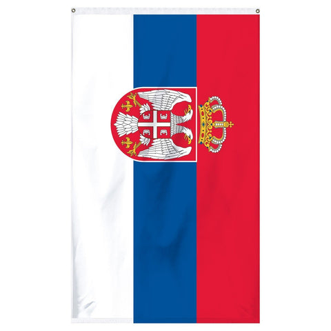 Serbia National Flag for sale to buy online from Atlantic Flag and Pole. Red, blue, and white flag with two white eagles on a shield with a crown on top.