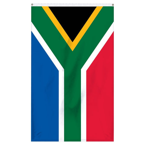 South Africa National flag for sale to buy online from Atlantic Flag and Pole. Black, yellow, green, white, red, and blue colored flag.