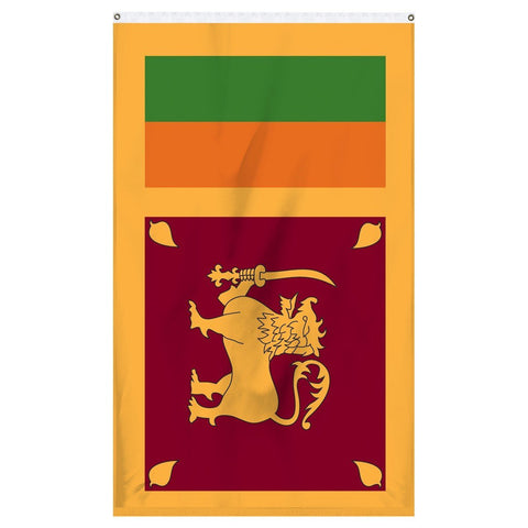 Sri Lanka National flag for sale to buy online from Atlantic Flag and Pole. Yellow, green, and orange flag with a lion holding a sword.