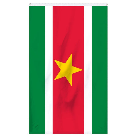 Suriname National flag for sale to buy online from Atlantic Flag and Pole. Green, white, and red flag with a yellow star in the middle.