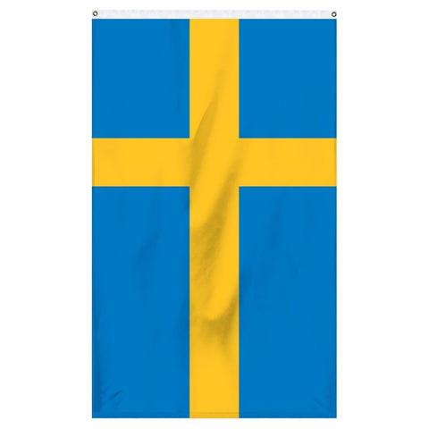 Sweden National flag for sale to buy online from Atlantic Flag and Pole. Blue flag with a yellow cross.