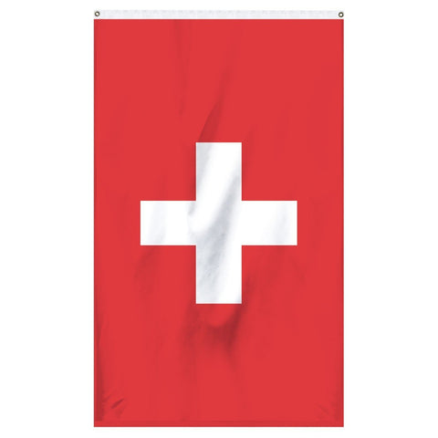 Switzerland National flag for sale to buy online from Atlantic Flag and Pole. Red flag with a white cross.