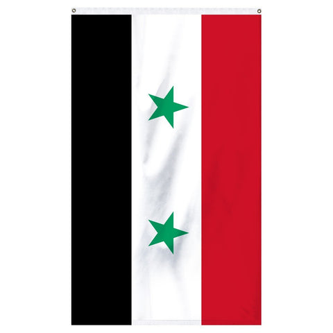 Syria National flag for sale to buy online from Atlantic Flag and Pole. Red, white, and black flag with two green stars in the middle.