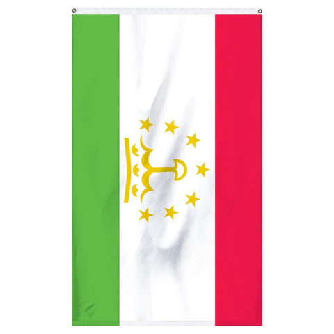 Tajikistan National Flag for sale to buy online from Atlantic Flag and Pole. Red, white, and green flag with 7 golden stars and a crown on a flag,