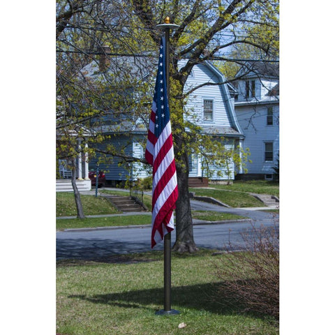 Telescoping Flagpole With Free American Flag Securi-Shur Anti-Theft Locking Clamp And Lifetime Guarantee American Made Flagpole