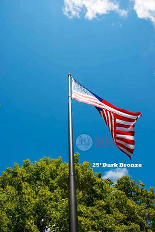 Telescoping Flagpole With Free American Flag Securi-Shur Anti-Theft Locking Clamp And Lifetime Guarantee 25 Foot / Dark Bronze American Made