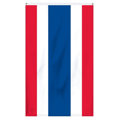 Thailand National Flag for sale to buy online from Atlantic Flag and Pole. Red, white, and blue flag with two red stripes, 2 white stripes, and a large blue stripe in the middle.