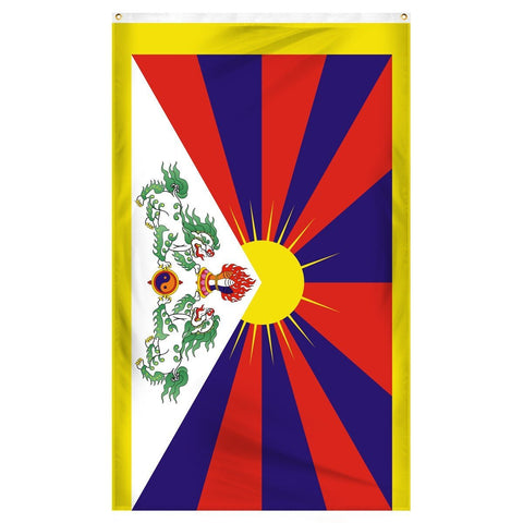 Tibet National Flag for sale to buy online from Atlantic Flag and Pole. Red and purple sunrise on a flag with dragons.