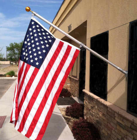 6FT Outrigger Flag Pole Set w/ 3'x5' Premium Nylon American Flag & Embroidered Stars & Gold Ball Topper