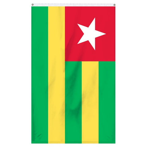 Togo National Flag for sale to buy online from Atlantic Flag and Pole. Green and yellow striped flag with a red square in the corner with a white star.
