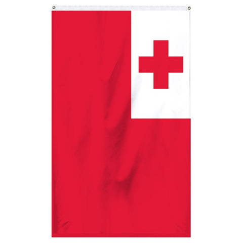 Tonga National Flag for sale to buy online from Atlantic Flag and Pole. Red flag with a white square and a red cross in the corner.