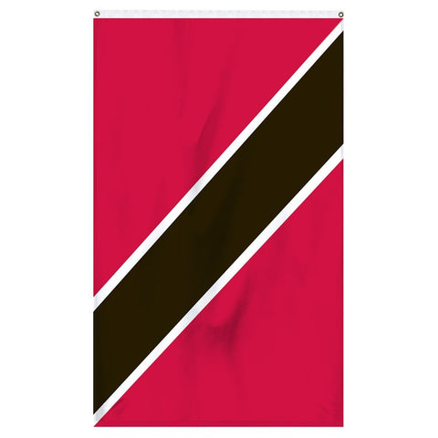 Trinidad and Tobago National Flag for sale to buy online from Atlantic Flag and Pole. Red flag with a diagonal black stripe with white border down it's center.