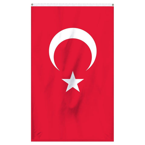 Turkey National Flag for sale to buy online from Atlantic Flag and Pole. Red flag with a white crescent moon and white star.