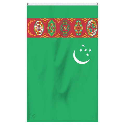 Turkmenistan National Flag for sale to buy online from Atlantic Flag and Pole. Green flag with a white crescent moon and 5 white stars with a patch or multicolored tribal images.