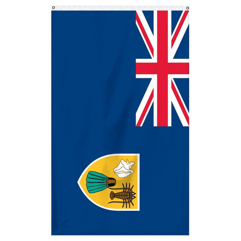 Turks and Caicos National Flag for sale to buy online from Atlantic Flag and Pole. Navy blue flag with great Britain cross along with a golden shield with images on it.