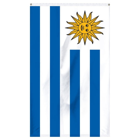 Uruguay National Flag for sale to buy online from Atlantic Flagpole. Blue and white flag with a smiling sun in the corner.