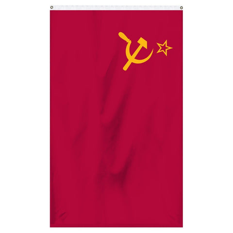 USSR National flag for sale to buy online from the American company Atlantic Flag and Pole. Red flag with yellow hook and sickle with yellow star.