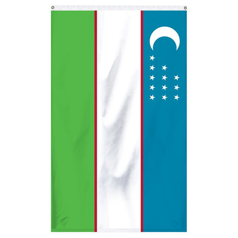 Uzbekistan National flag for sale to buy online from the American company Atlantic Flag and Pole. Blue, white, green and red stripped flag with a white crescent moon with 12 white stars.