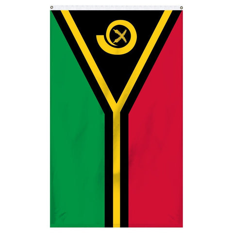 Vanuatu National flag for sale to buy online from the American company Atlantic Flag and Pole. A horizontal bicolor of red and green with the black isosceles triangle based on the hoist side bearing the golden boar's tusk encircling two crossed namely fern fronds in the center and the golden pall, a thin yellow narrow horizontal stripe that splits in the shape of the horizontal Y, centered over the partition lines and was edged in black against the red and the green bands while the two points of the Y face